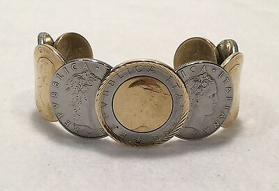 Retro QVC Milor Collection 9 Coin Lire Cuff Bracelet w/ 14 Gold Bezel - CHUNKY!