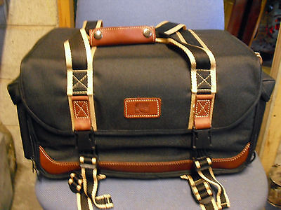 jessops large camera bag black and tan 9 compartments with shoulder strap