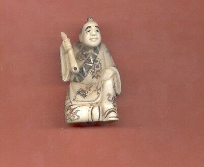 Sitting Man With Pipe Hand Carved Netsuke Vintage Figurine 547