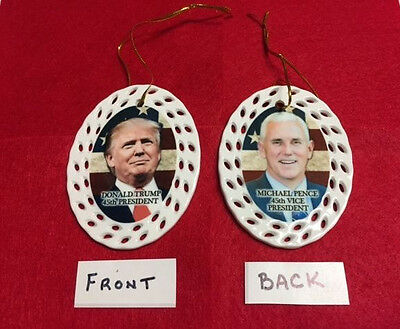 Donald Trump / Mike Pence 45Th President/vice Porcelain Christmas Ornament New