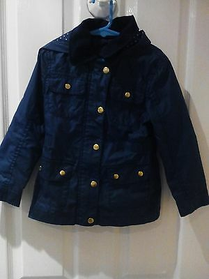 "Fab Hooded Navy Jacket by F.&.F.. Age 4-5.Yr.""Oilskin"" look.Gr8. 4.Winter"