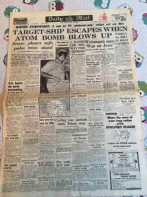 Original Daily Mail Monday July 1 1946 Atomic Bomb Blows Up First Peace Time