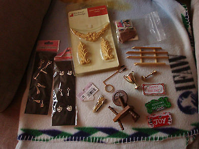 doll house furniture lot, & couple dolls, few old items, chairs, packs, etc good