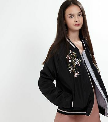 New Look Teens Black Reversible Embroidered Bomber Jacket Age 14-15 Years