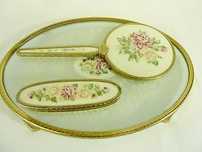 Lovely Vintage Dressing Table Set With Tray, Petit Point/embroidered, Vgc   #cr#