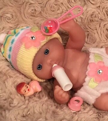 "OOAK 5-6"" Baby GIRL Doll 6 PC. Diaper Set ACC~Pink~For Mini Reborn~Berenguer"
