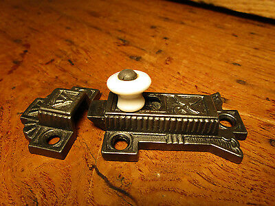 Antique Victorian Cabinet Catch Jelly Cupboard Latch Porcelain Knob Old Vintage