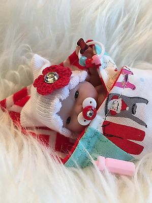 "Christmas 5-6"" Baby Girl Winter Doll Clothes~ACC~~For Mini Reborn~Berenguer~OOAK"