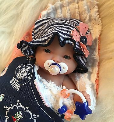 "Holiday 5-6"" Baby Girl Doll Clothes~ACC~For Mini Reborn~Berenguer~OOAK~Pink,Navy"