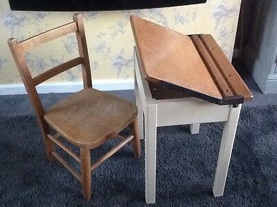 Childs Vintage Desk And Chair. Solid Wood. Two Tone Finish.