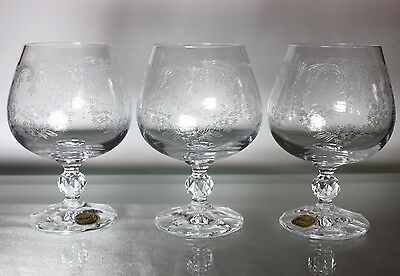 NEW.Bohemia  CASCADE Etched Crystal Faceted Ball Stem Wine Glasses SET of 6