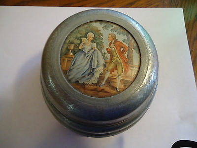 Vintage Silver Tone Musical Powder Box With Victorian Picture