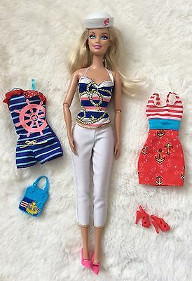 Nautical sailor Barbie With Clothes And Accessories Bundle