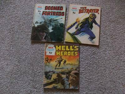 3X War Picture Library Comics #901 #1072 #1207  (1973-75-76)