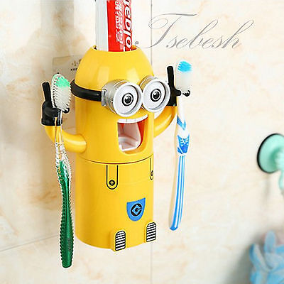 New Automatic Toothpaste Dispenser Minion Plastic Toothbrush Holder Kids Minions