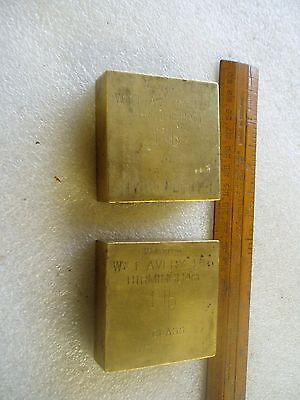 Vintage  Brass Test Weights W & T Avery 1Lb