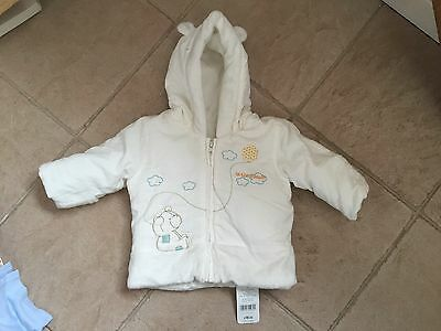 BNWT Baby's Winter Coat Age 3-6m With Integral Scratchmitts From Mothercare