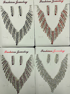 wholesale job lot Bridal Wedding Silver Plated Crystal Necklace Earrings set 2ps