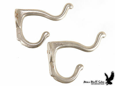 "Lot of 2 Vintage Wall Coat Hat Double Hooks Cast Iron 3"" Hardware"
