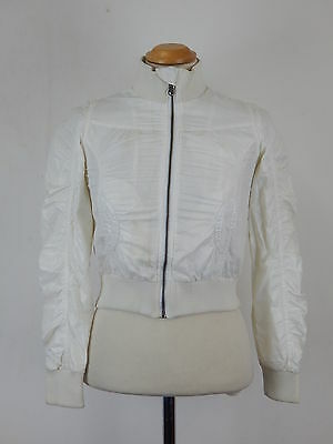 Girls Sisley full zip front bomber jacket in shimmery white Size age 8-9 years