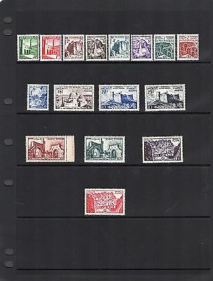 Tunisia: French Colony;1954 ; Definitive set of 16; Hinged mint; cat £35