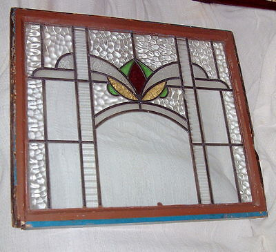 "Leaded Glass Antique Window, Large Hand Made Gorgeous 36"" X 31"" VINTAGE SALVAGE"
