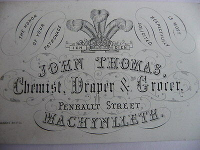 Victorian advertising trade card Wales Machynlleth Chemist Draper grocer antique