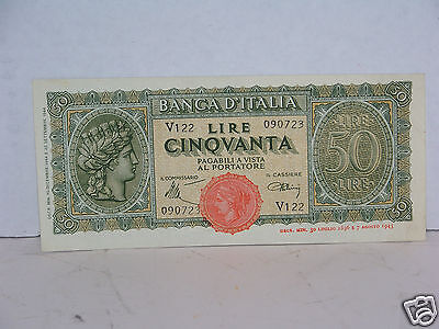1944 Italy 50 Lire Note Uncirculated NICE