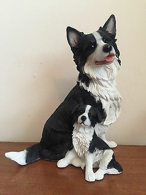 Border Collie Dog And Pup Figure By The Leonardo Collection
