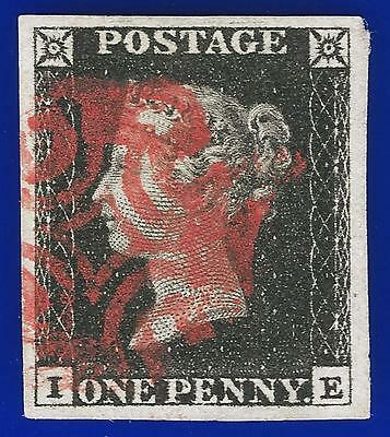 1840 SG2 1d Black Plate 1b AS5 j IE Very Fine Used with a Red Maltese Cross