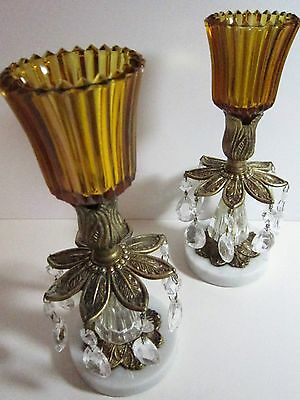 VINTAGE BRASS AND CRYSTAL CHANDELIER candle holders True Amber Glass Excellent
