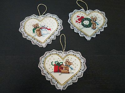 Handmade Counted Cross Stitch Heart Ornaments Lot Of 3 - New