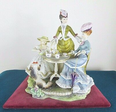Rare Royal Worcester Figure - The Teaparty - Victorian Series - Perfect