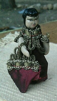 """Vintage miniature jointed wooden doll hand carved painted 3"""" signed Beaver"""