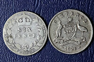 1902 Great Britain & 1926 Australian Sixpence Both .92500 Fine Silver *