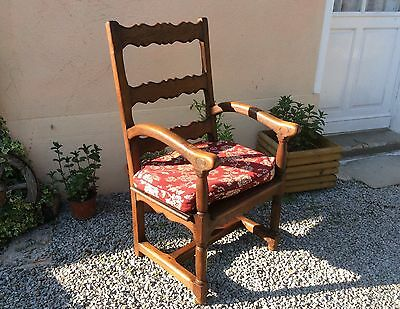 Antique Vintage French Oak Hall Chair Monks Seat Small Settle