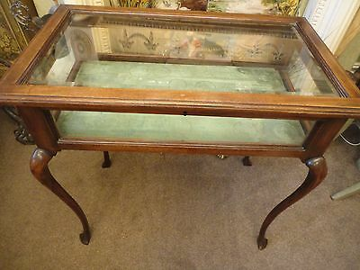 Antique Mahogany Empire Jewellery Case Display Cabinet Bijouterie