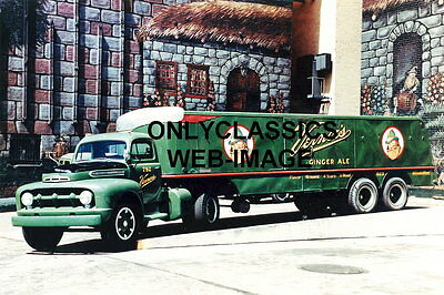 1951 VINTAGE VERNOR'S GINGER ALE SODA POP OLD SEMI TRUCK PHOTO Gnome Mascot