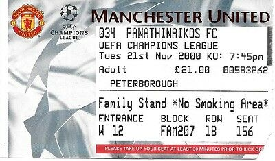 MANCHESTER UNITED v PANATHINAIKOS 2000/2001 CHAMPIONS LEAGUE TICKET