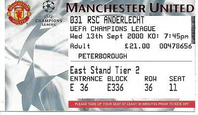 MANCHESTER UNITED v RSC ANDERLECHT 2000/2001 CHAMPIONS LEAGUE TICKET
