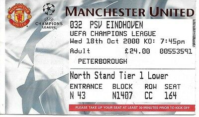 MANCHESTER UNITED v PSV EINDHOVEN 2000/2001 CHAMPIONS LEAGUE TICKET