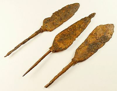 Lot Of 3 Ancient Roman Battle Iron Military Arrows Arrowheads