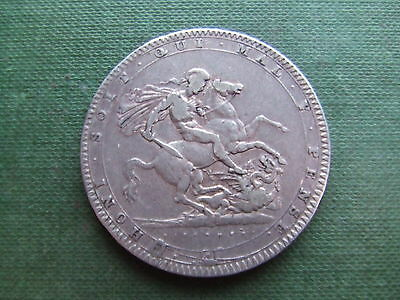 George Iii.  1820,.silver Crown    Classic Design..    Nice Condition.