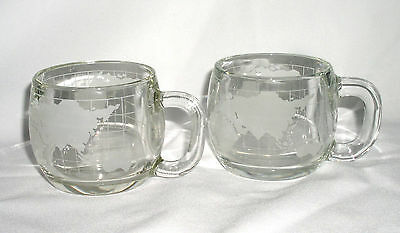 Mugs Nestle Nescafe Glass 2 Frosted  World Globe Unused Coffee Tea Cup Promotion