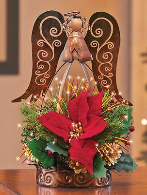 lighted RUSTIC Fiber Optic Angel Floral Poinsettia Christmas TABLE Centerpiece