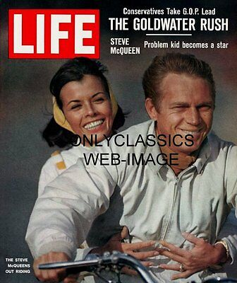 Smiling Steve Mcqueen And Niele Adams Ride Motorcycle Life Magazine Cover Photo