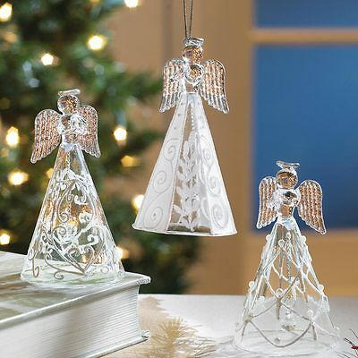 Set of 3 Collectible Glass Angel Bell Christmas Ornaments