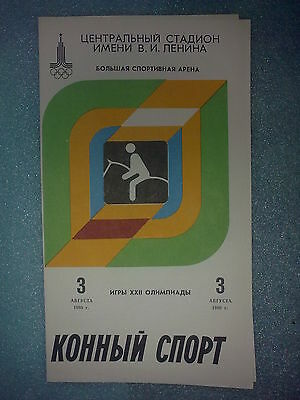 Programme Olympic Games Moscow 3.08.1980  Equestrian