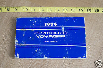 Plymouth Voyager Chrysler genuine handbook owners manual