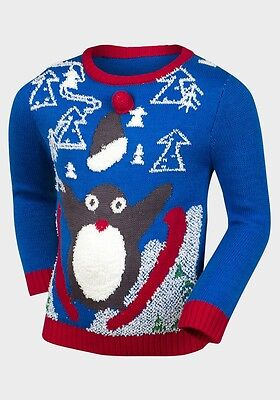 Ex chainstore Boys Girls Baby Christmas Squeaky Novelty Penguin Soft Knit Jumper